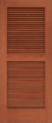 Louvered wood door