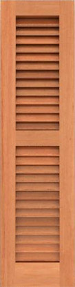 Louvered wood shutter